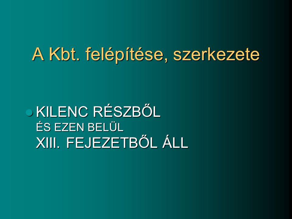 A Kbt. felépítése, szerkezete KILENC RÉSZBŐL ÉS EZEN BELÜL XIII. FEJEZETBŐL ÁLL KILENC RÉSZBŐL ÉS EZEN BELÜL XIII. FEJEZETBŐL ÁLL
