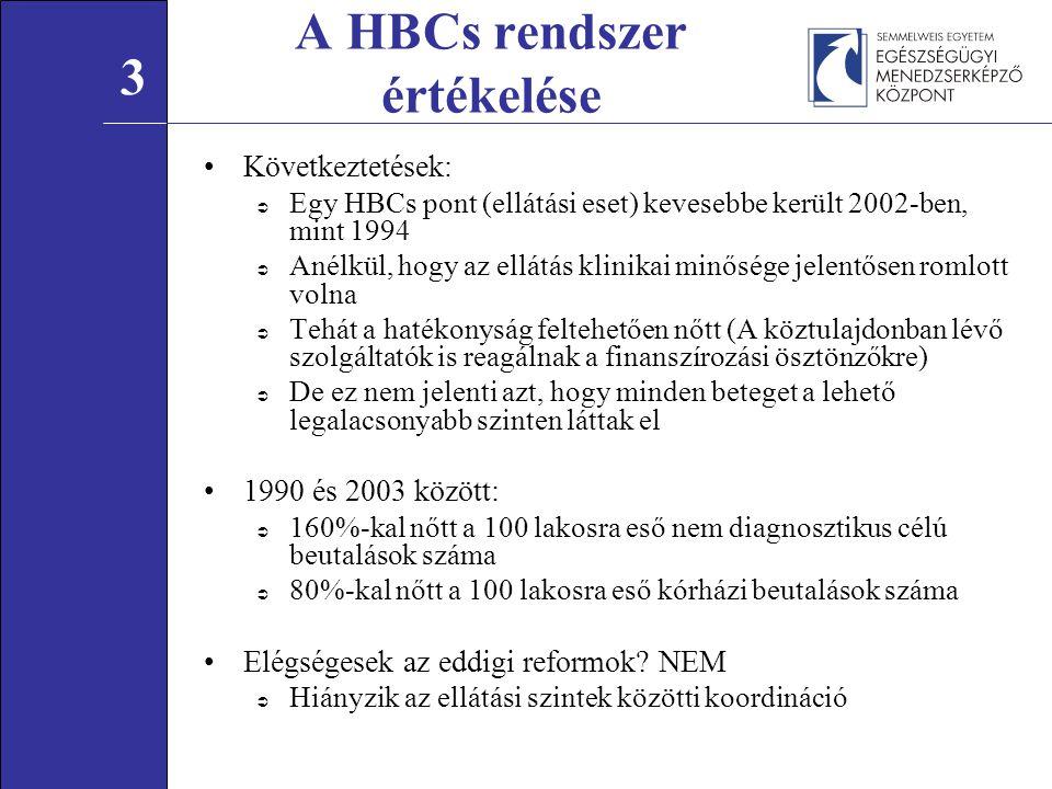 Következtetések:  Egy HBCs pont (ellátási eset) kevesebbe került 2002-ben, mint 1994  Anélkül, hogy az ellátás klinikai minősége jelentősen romlott