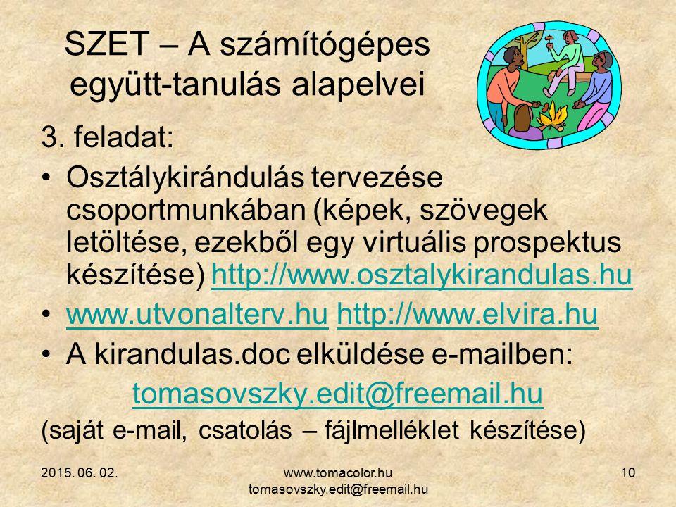 2015. 06. 02.www.tomacolor.hu tomasovszky.edit@freemail.hu 10 SZET – A számítógépes együtt-tanulás alapelvei 3. feladat: Osztálykirándulás tervezése c