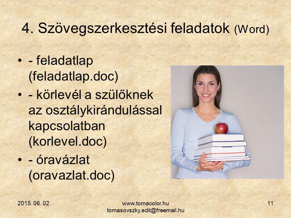 2015. 06. 02.www.tomacolor.hu tomasovszky.edit@freemail.hu 11 4. Szövegszerkesztési feladatok (Word) - feladatlap (feladatlap.doc) - körlevél a szülők