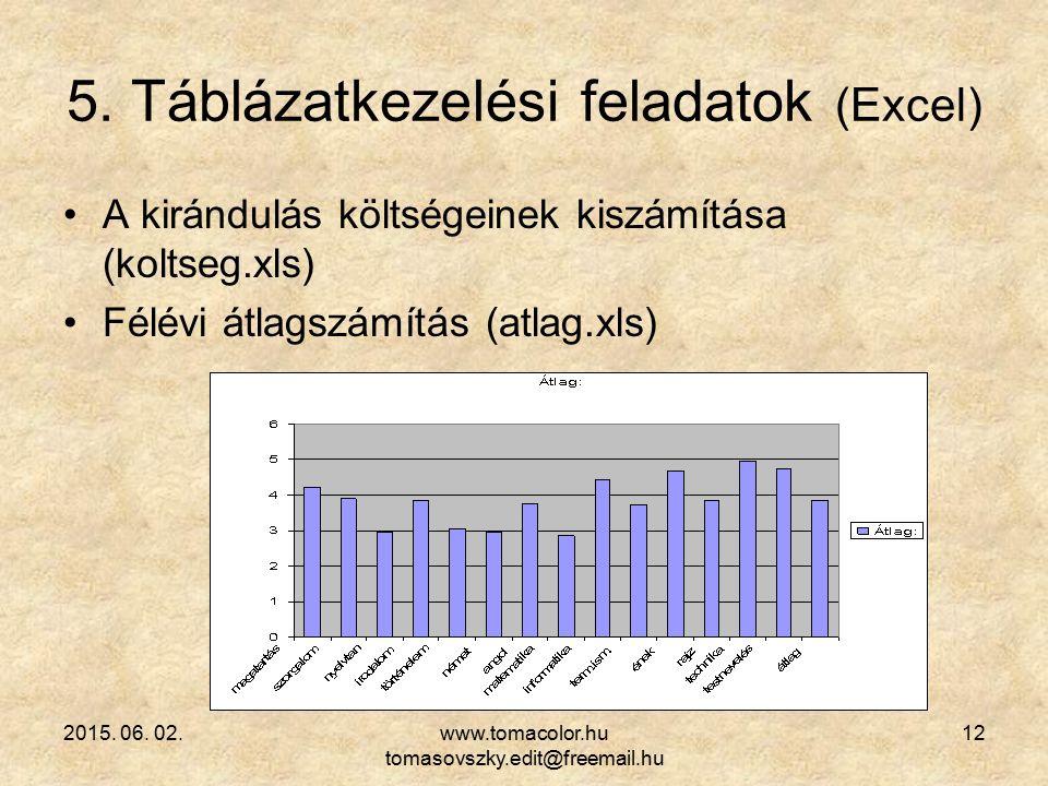 2015. 06. 02.www.tomacolor.hu tomasovszky.edit@freemail.hu 12 5. Táblázatkezelési feladatok (Excel) A kirándulás költségeinek kiszámítása (koltseg.xls