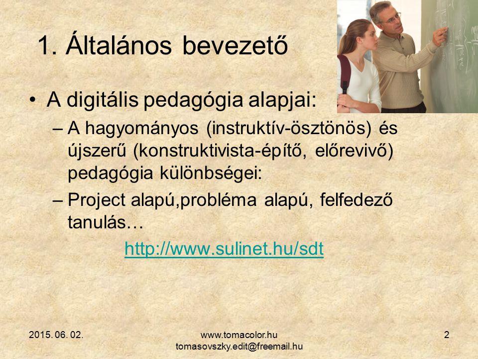 2015. 06. 02.www.tomacolor.hu tomasovszky.edit@freemail.hu 2 1. Általános bevezető A digitális pedagógia alapjai: –A hagyományos (instruktív-ösztönös)