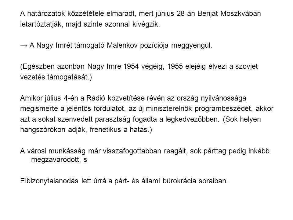 A határozatok közzététele elmaradt, mert június 28-án Beriját Moszkvában letartóztatják, majd szinte azonnal kivégzik. → A Nagy Imrét támogató Malenko