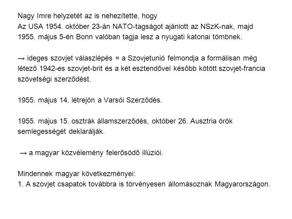 Nagy Imre helyzetét az is nehezítette, hogy Az USA 1954. október 23-án NATO-tagságot ajánlott az NSzK-nak, majd 1955. május 5-én Bonn valóban tagja le