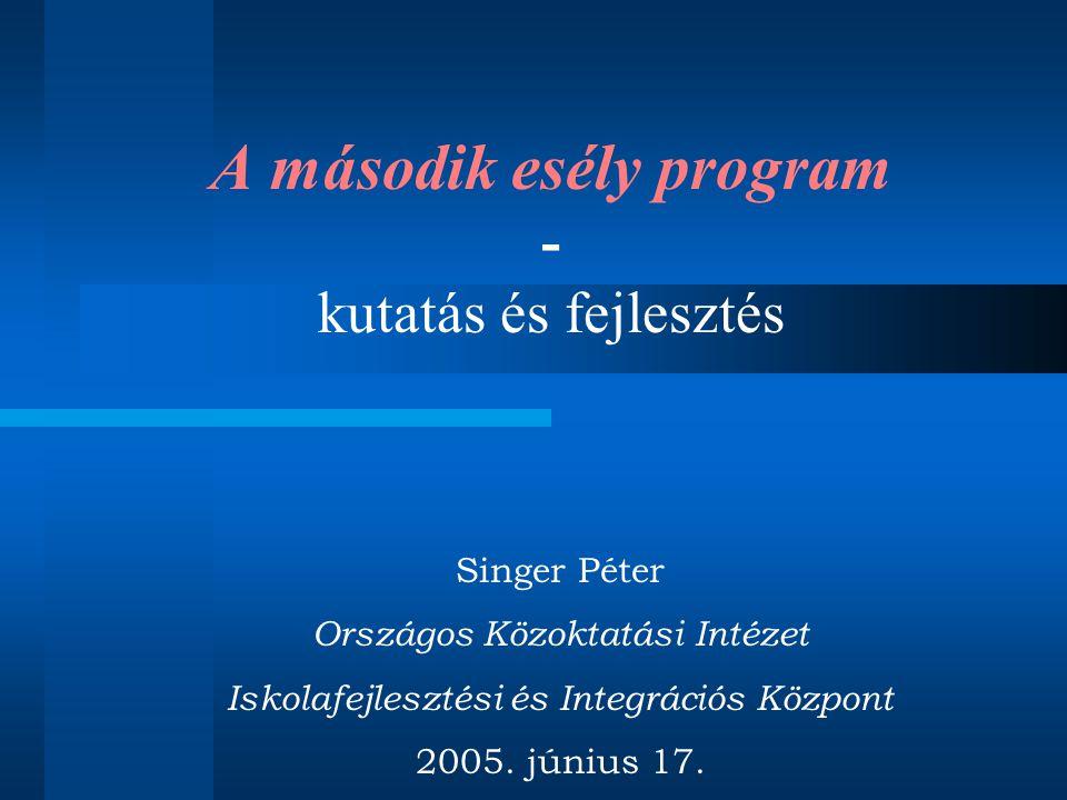 A második esély program - kutatás és fejlesztés Singer Péter Országos Közoktatási Intézet Iskolafejlesztési és Integrációs Központ 2005.
