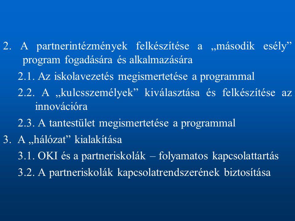 """2. A partnerintézmények felkészítése a """"második esély program fogadására és alkalmazására 2.1."""