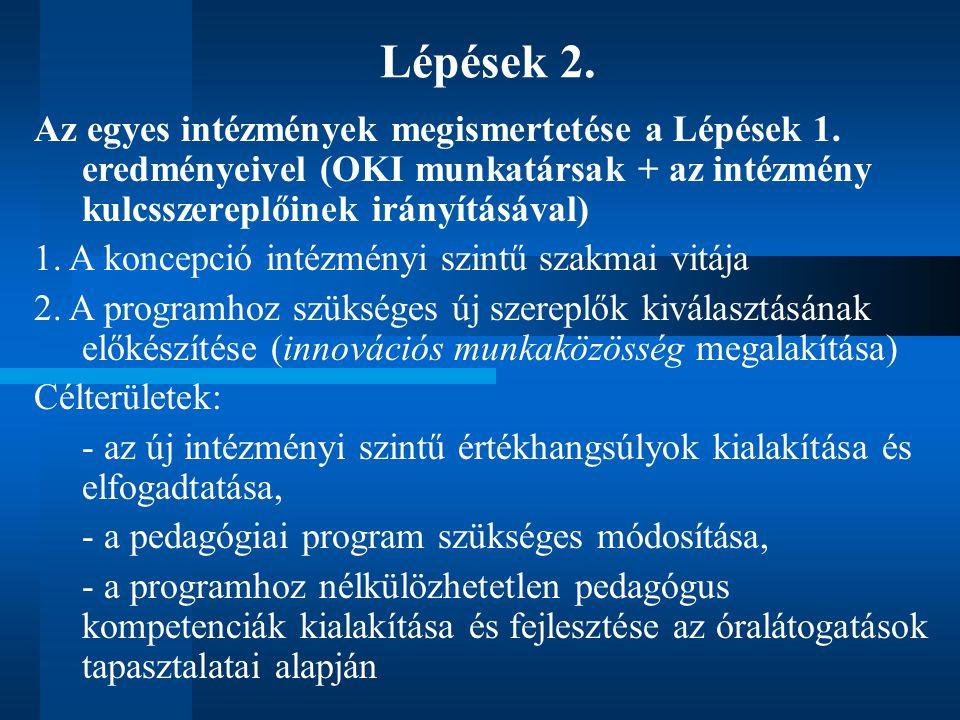 Lépések 2. Az egyes intézmények megismertetése a Lépések 1.
