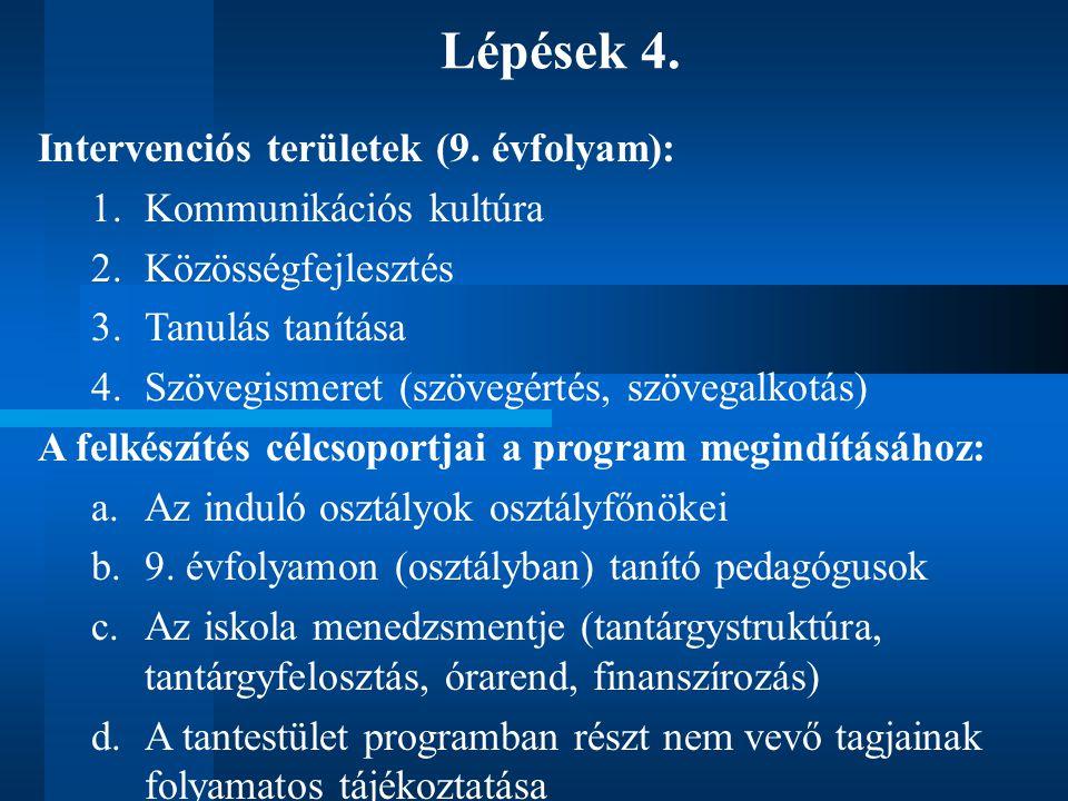 Lépések 4. Intervenciós területek (9.