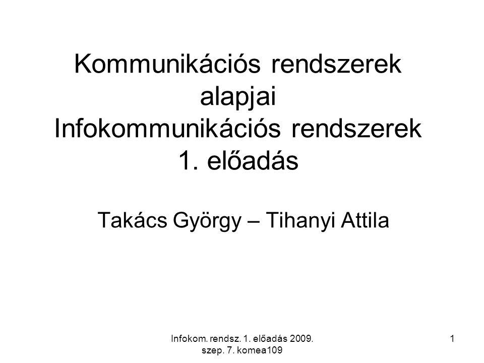 Infokom.rendsz. 1. előadás 2009. szep. 7. komea109 2 Mit tartalmaz a tárgy.