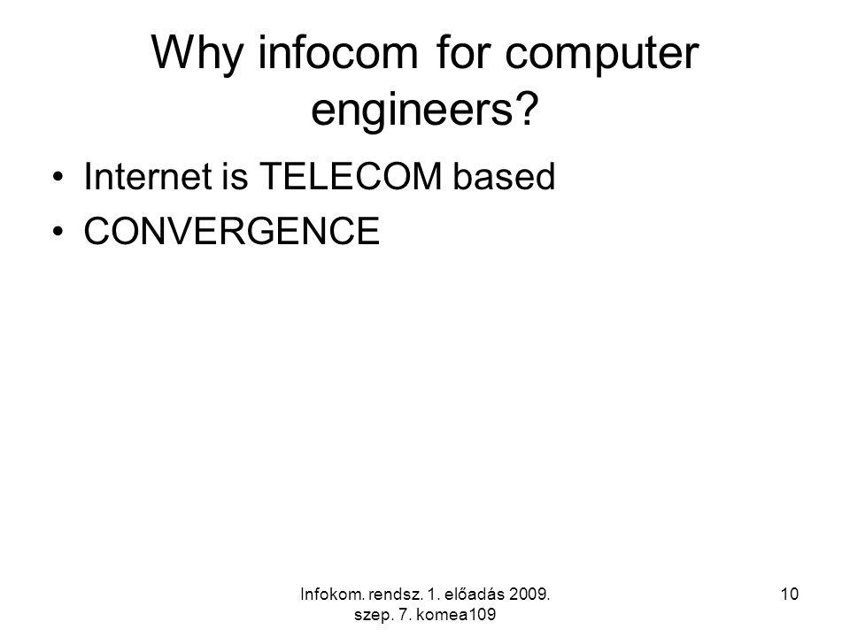 Infokom. rendsz. 1. előadás 2009. szep. 7. komea109 10 Why infocom for computer engineers.