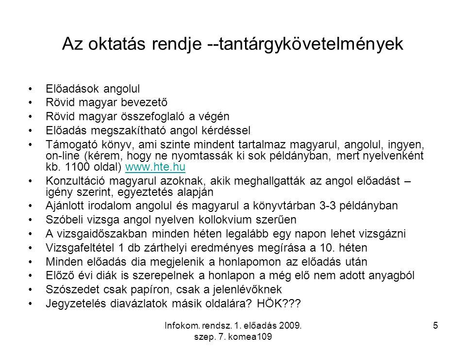 Infokom. rendsz. 1. előadás 2009. szep. 7.