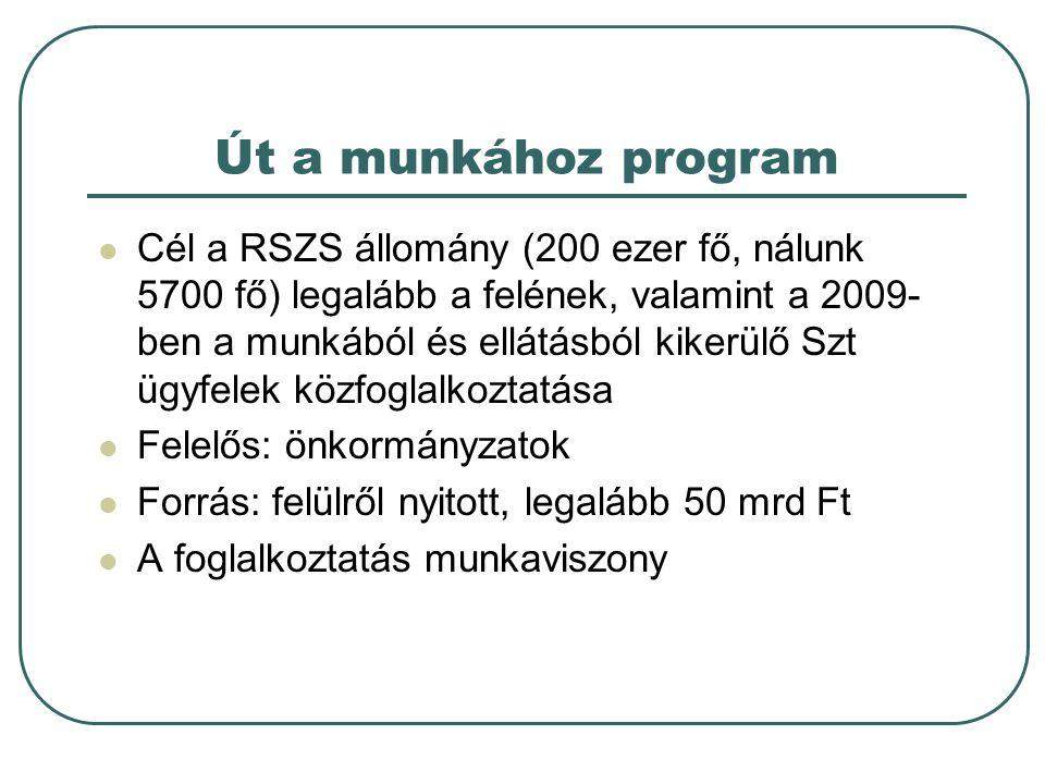 Út a munkához program Cél a RSZS állomány (200 ezer fő, nálunk 5700 fő) legalább a felének, valamint a 2009- ben a munkából és ellátásból kikerülő Szt ügyfelek közfoglalkoztatása Felelős: önkormányzatok Forrás: felülről nyitott, legalább 50 mrd Ft A foglalkoztatás munkaviszony