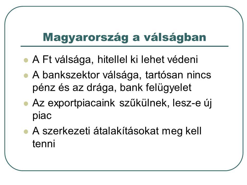 Magyarország a válságban A Ft válsága, hitellel ki lehet védeni A bankszektor válsága, tartósan nincs pénz és az drága, bank felügyelet Az exportpiacaink szűkülnek, lesz-e új piac A szerkezeti átalakításokat meg kell tenni