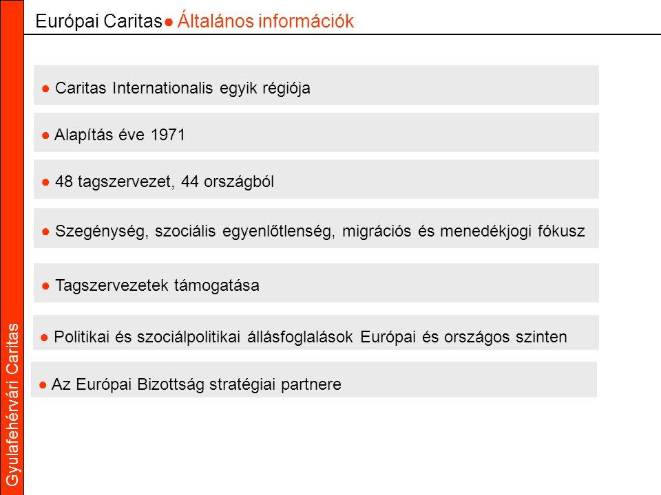 ● Caritas Internationalis egyik régiója ● Alapítás éve 1971 ● 48 tagszervezet, 44 országból ● Tagszervezetek támogatása ● Szegénység, szociális egyenlőtlenség, migrációs és menedékjogi fókusz Európai Caritas● Általános információk ● Politikai és szociálpolitikai állásfoglalások Európai és országos szinten ● Az Európai Bizottság stratégiai partnere