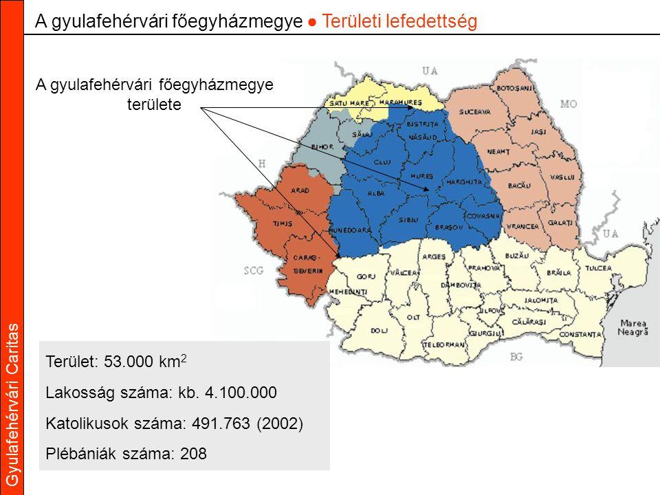 A gyulafehérvári főegyházmegye ● Területi lefedettség A gyulafehérvári főegyházmegye területe Terület: 53.000 km 2 Lakosság száma: kb.