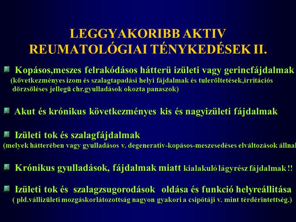 Kopásos,meszes felrakódásos hátterü izületi vagy gerincfájdalmak Kopásos,meszes felrakódásos hátterü izületi vagy gerincfájdalmak (következményes izom