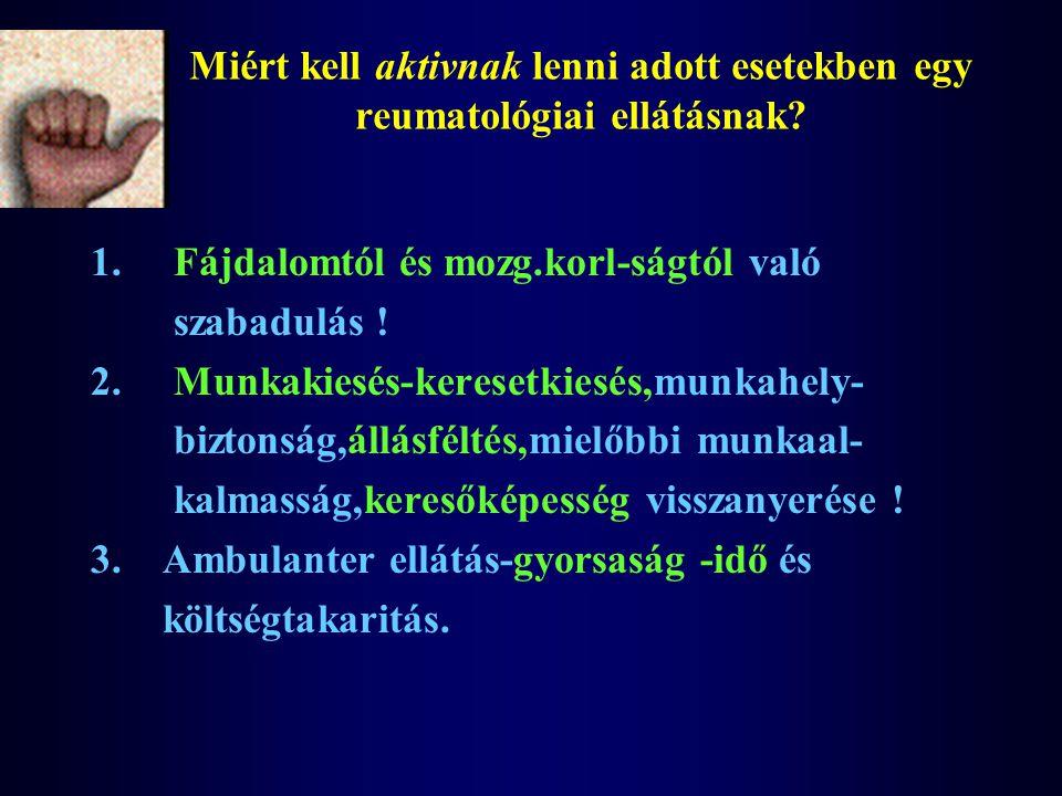Miért kell aktivnak lenni adott esetekben egy reumatológiai ellátásnak? 1. Fájdalomtól és mozg.korl-ságtól való szabadulás ! 2. Munkakiesés-keresetkie