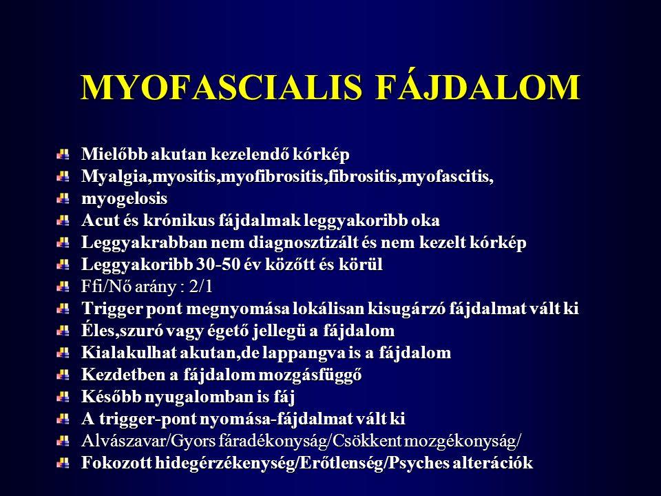 MYOFASCIALIS FÁJDALOM Mielőbb akutan kezelendő kórkép Myalgia,myositis,myofibrositis,fibrositis,myofascitis,myogelosis Acut és krónikus fájdalmak legg