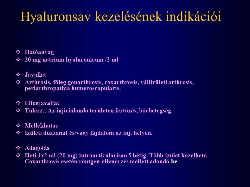 Hyaluronsav kezelésének indikációi  Hatóanyag  20 mg natrium hyaluronicum /2 ml  Javallat  Arthrosis, főleg gonarthrosis, coxarthrosis, vállízület