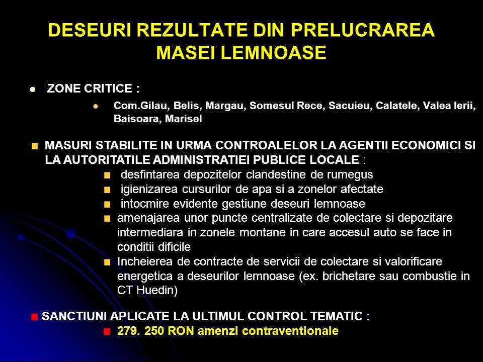 DESEURI REZULTATE DIN PRELUCRAREA MASEI LEMNOASE ZONE CRITICE : Com.Gilau, Belis, Margau, Somesul Rece, Sacuieu, Calatele, Valea Ierii, Baisoara, Mari