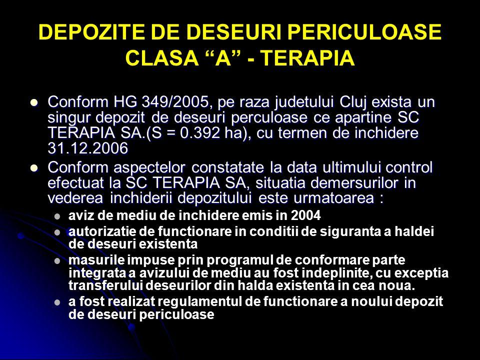 """DEPOZITE DE DESEURI PERICULOASE CLASA """"A"""" - TERAPIA Conform HG 349/2005, pe raza judetului Cluj exista un singur depozit de deseuri perculoase ce apar"""