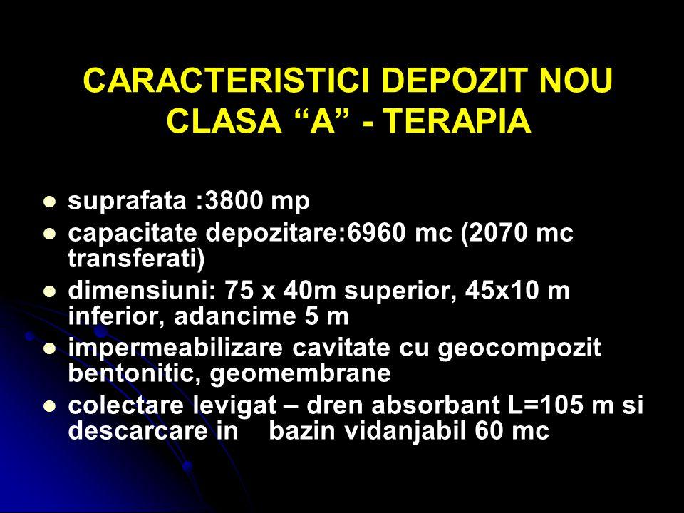 "CARACTERISTICI DEPOZIT NOU CLASA ""A"" - TERAPIA suprafata :3800 mp capacitate depozitare:6960 mc (2070 mc transferati) dimensiuni: 75 x 40m superior, 4"