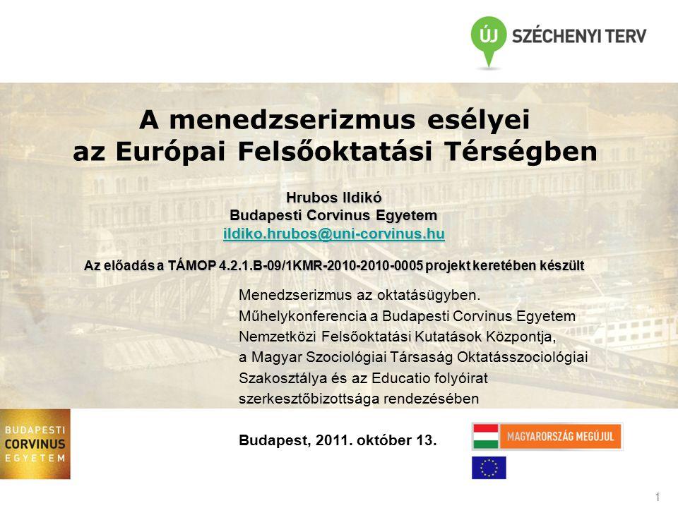 1 A menedzserizmus esélyei az Európai Felsőoktatási Térségben Menedzserizmus az oktatásügyben. Műhelykonferencia a Budapesti Corvinus Egyetem Nemzetkö