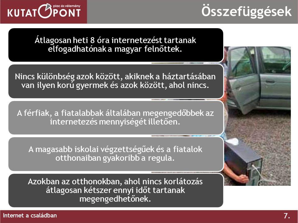 7. Internet a családban Összefüggések Átlagosan heti 8 óra internetezést tartanak elfogadhatónak a magyar felnőttek. Nincs különbség azok között, akik