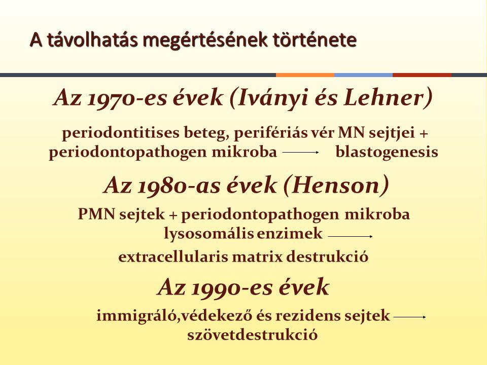 Az 1970-es évek (Iványi és Lehner) periodontitises beteg, perifériás vér MN sejtjei + periodontopathogen mikroba blastogenesis Az 1980-as évek (Henson