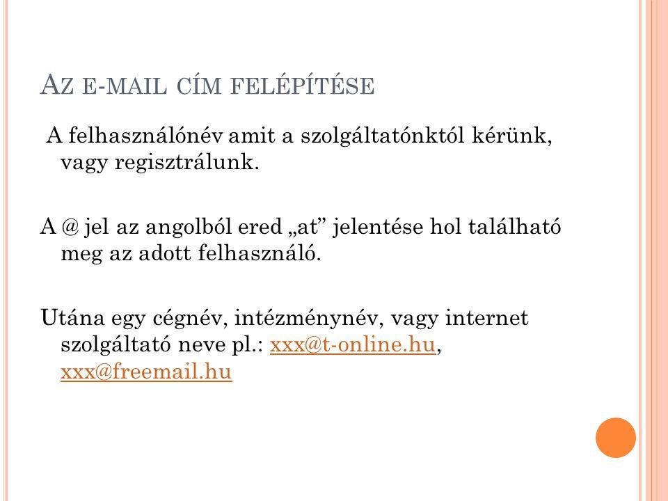 A Z E - MAIL CÍM FELÉPÍTÉSE A felhasználónév amit a szolgáltatónktól kérünk, vagy regisztrálunk.