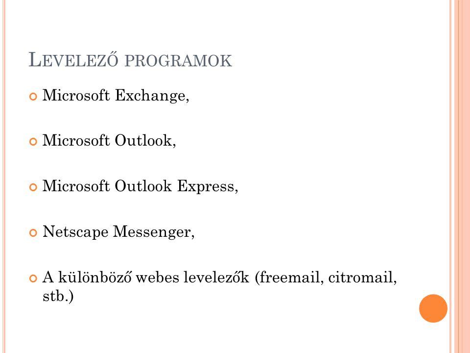 L EVELEZŐ PROGRAMOK Microsoft Exchange, Microsoft Outlook, Microsoft Outlook Express, Netscape Messenger, A különböző webes levelezők (freemail, citromail, stb.)