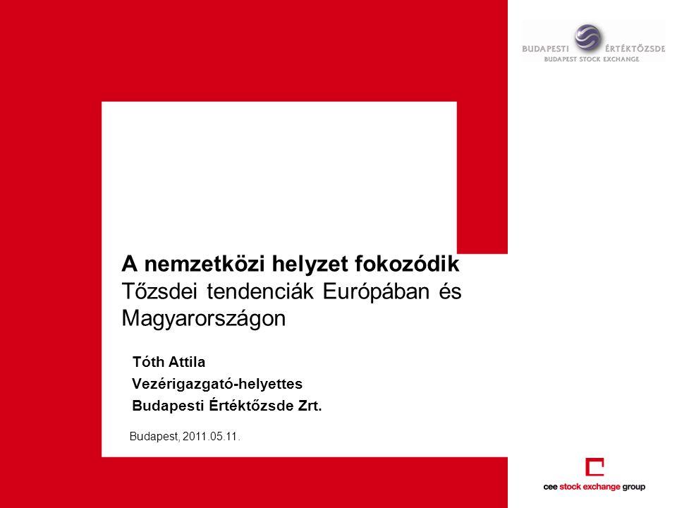 A nemzetközi helyzet fokozódik Tőzsdei tendenciák Európában és Magyarországon Tóth Attila Vezérigazgató-helyettes Budapesti Értéktőzsde Zrt. Budapest,