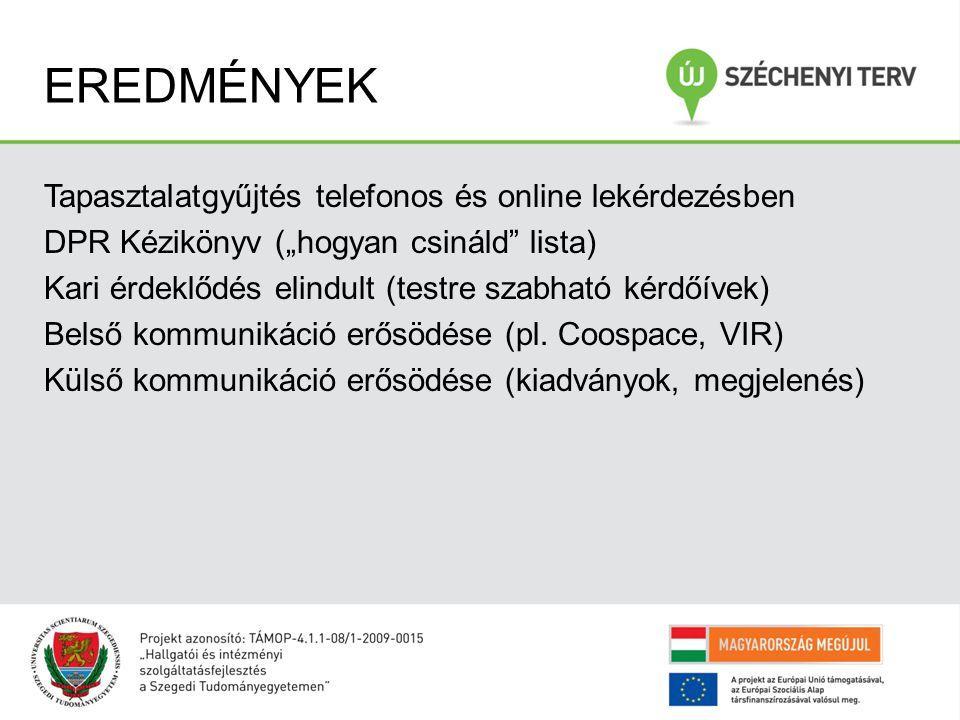 """EREDMÉNYEK Tapasztalatgyűjtés telefonos és online lekérdezésben DPR Kézikönyv (""""hogyan csináld lista) Kari érdeklődés elindult (testre szabható kérdőívek) Belső kommunikáció erősödése (pl."""