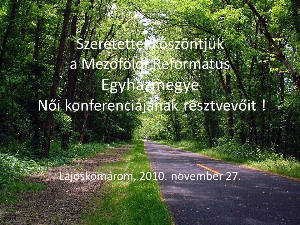 Szeretettel köszöntjük a Mezőföldi Református Egyházmegye Női konferenciájának résztvevőit ! Lajoskomárom, 2010. november 27.