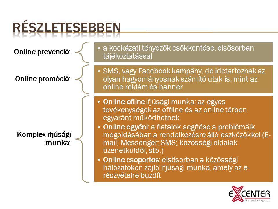 Online prevenció: a kockázati tényezők csökkentése, elsősorban tájékoztatással Online promóció: SMS, vagy Facebook kampány, de idetartoznak az olyan hagyományosnak számító utak is, mint az online reklám és banner Komplex ifjúsági munka: Online-ofline ifjúsági munka: az egyes tevékenységek az offline és az online térben egyaránt működhetnek Online egyéni: a fiatalok segítése a problémáik megoldásában a rendelkezésre álló eszközökkel (E- mail; Messenger; SMS; közösségi oldalak üzenetküldői; stb.) Online csoportos: elsősorban a közösségi hálózatokon zajló ifjúsági munka, amely az e- részvételre buzdít