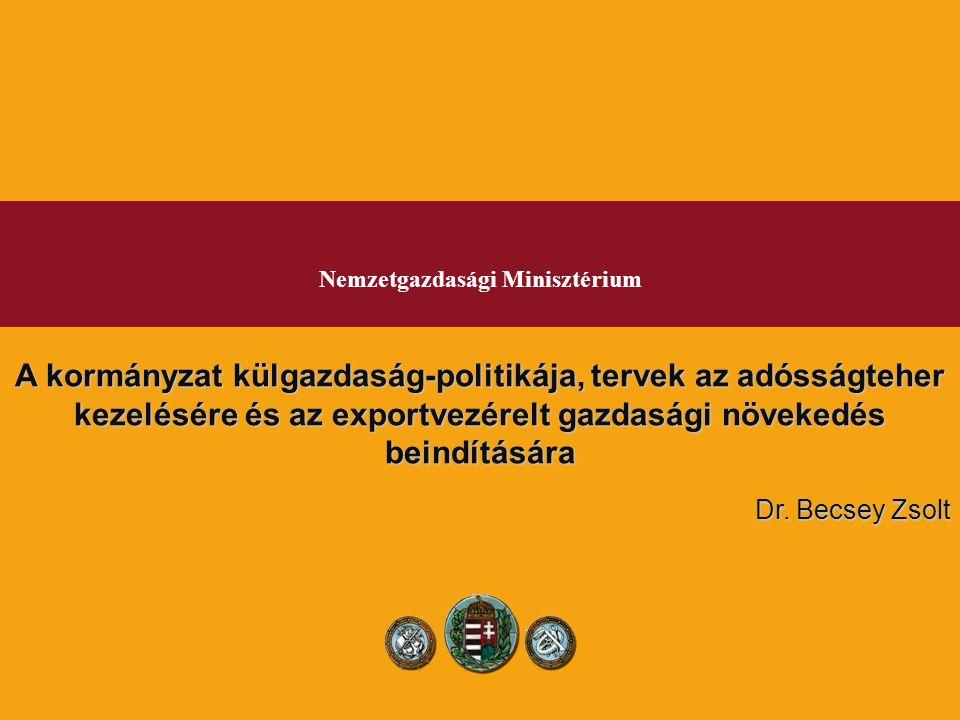 Nemzetgazdasági Minisztérium A kormányzat külgazdaság-politikája, tervek az adósságteher kezelésére és az exportvezérelt gazdasági növekedés beindítására Dr.
