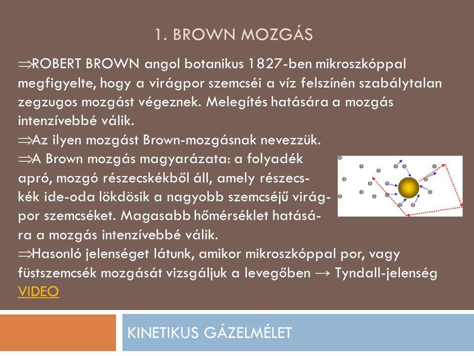 1. BROWN MOZGÁS KINETIKUS GÁZELMÉLET  ROBERT BROWN angol botanikus 1827-ben mikroszkóppal megfigyelte, hogy a virágpor szemcséi a víz felszínén szabá