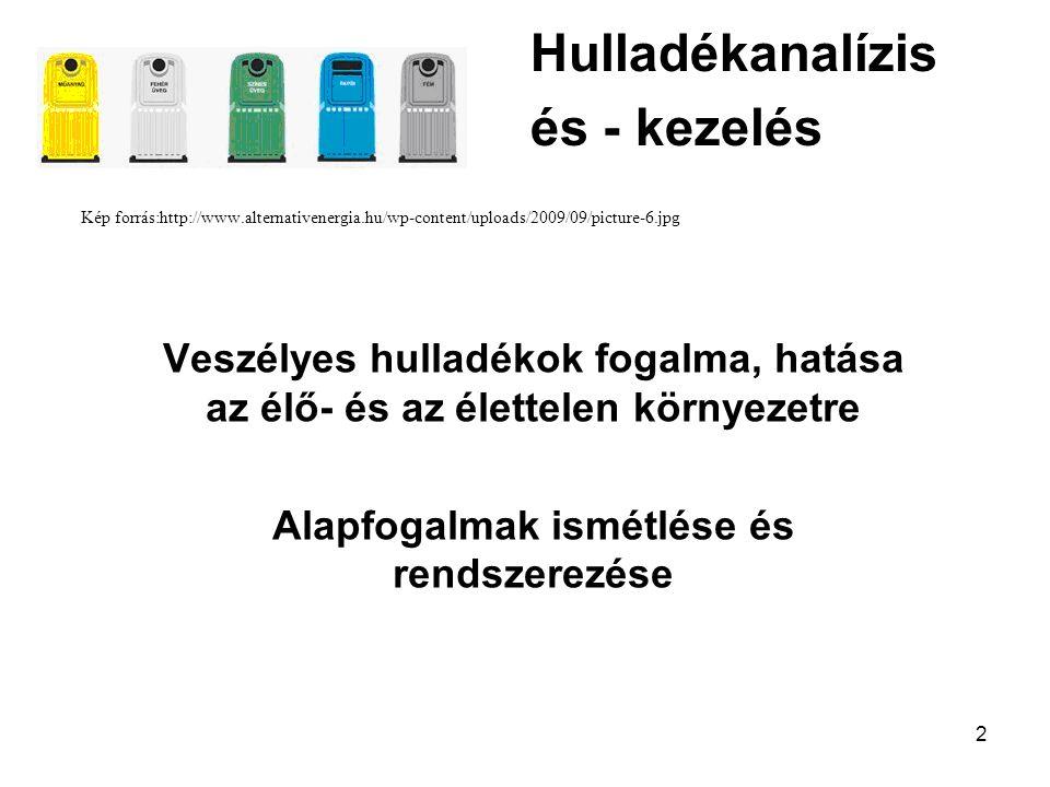 2 Hulladékanalízis és - kezelés Kép forrás:http://www.alternativenergia.hu/wp-content/uploads/2009/09/picture-6.jpg Veszélyes hulladékok fogalma, hatá