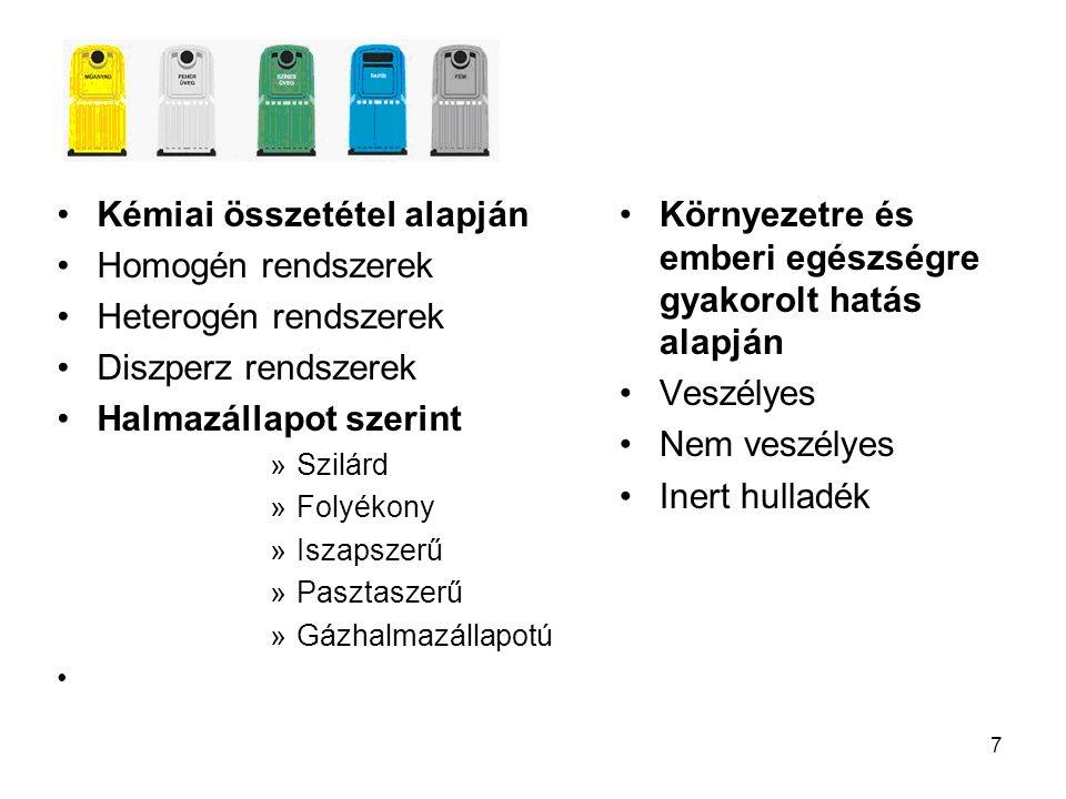 7 Kémiai összetétel alapján Homogén rendszerek Heterogén rendszerek Diszperz rendszerek Halmazállapot szerint »Szilárd »Folyékony »Iszapszerű »Pasztas
