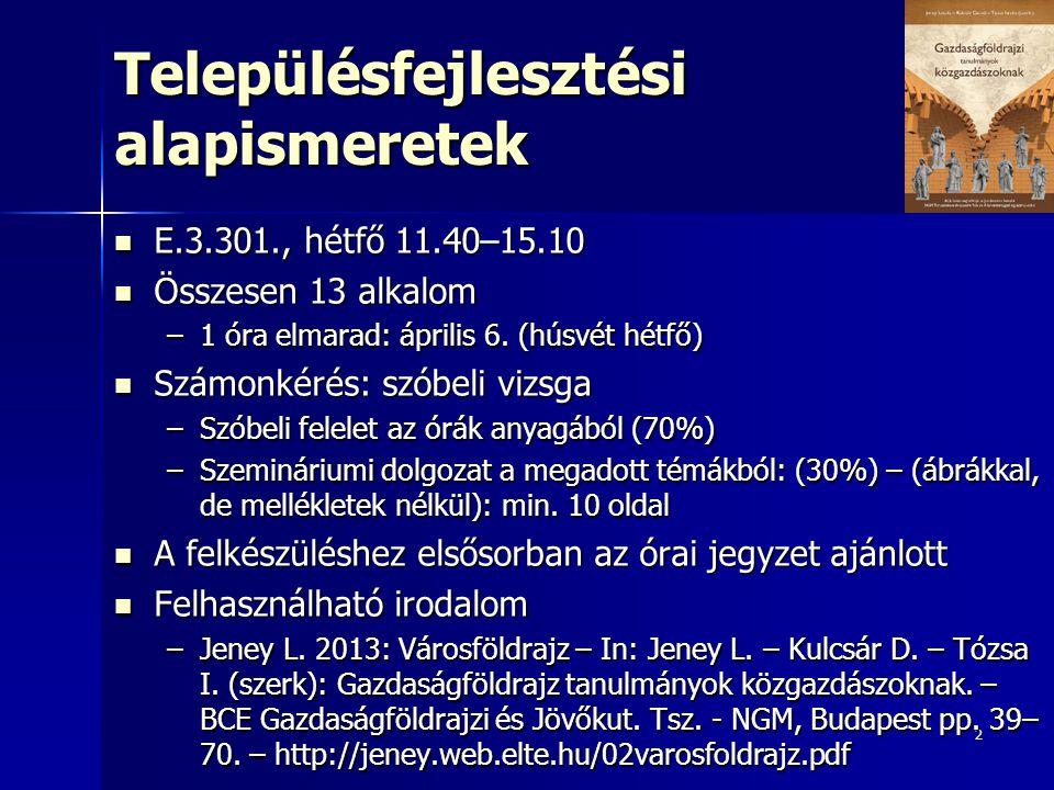 2 Településfejlesztési alapismeretek E.3.301., hétfő 11.40–15.10 E.3.301., hétfő 11.40–15.10 Összesen 13 alkalom Összesen 13 alkalom –1 óra elmarad: á