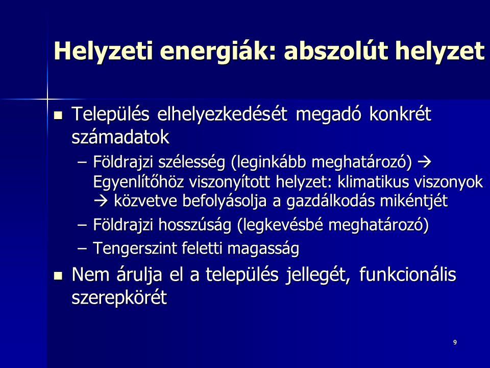 9 Helyzeti energiák: abszolút helyzet Település elhelyezkedését megadó konkrét számadatok Település elhelyezkedését megadó konkrét számadatok –Földraj