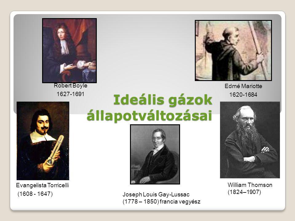 Ideális gázok állapotváltozásai Joseph Louis Gay-Lussac (1778 – 1850) francia vegyész Evangelista Torricelli (1608 - 1647) William Thomson (1824–1907)