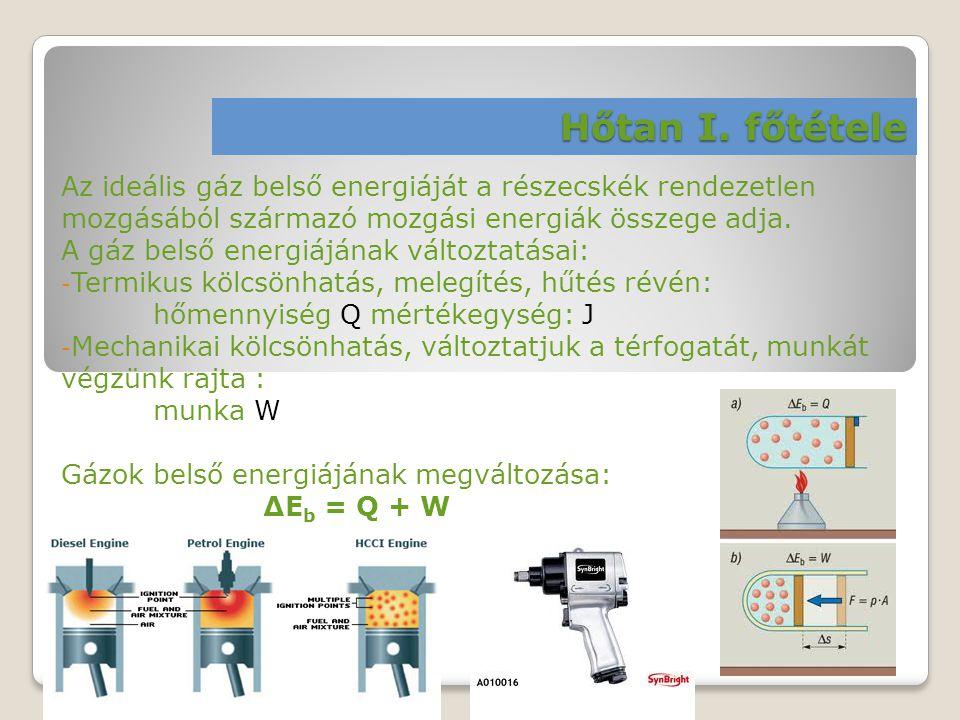 Hőtan I. főtétele Az ideális gáz belső energiáját a részecskék rendezetlen mozgásából származó mozgási energiák összege adja. A gáz belső energiájának
