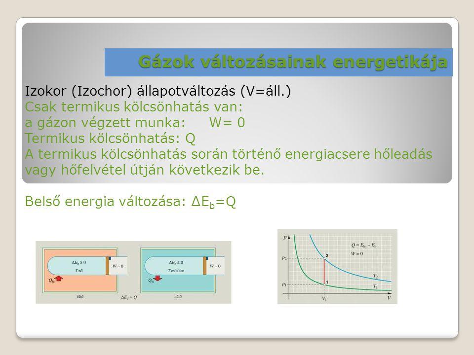 Gázok változásainak energetikája Izokor (Izochor) állapotváltozás (V=áll.) Csak termikus kölcsönhatás van: a gázon végzett munka: W= 0 Termikus kölcsö