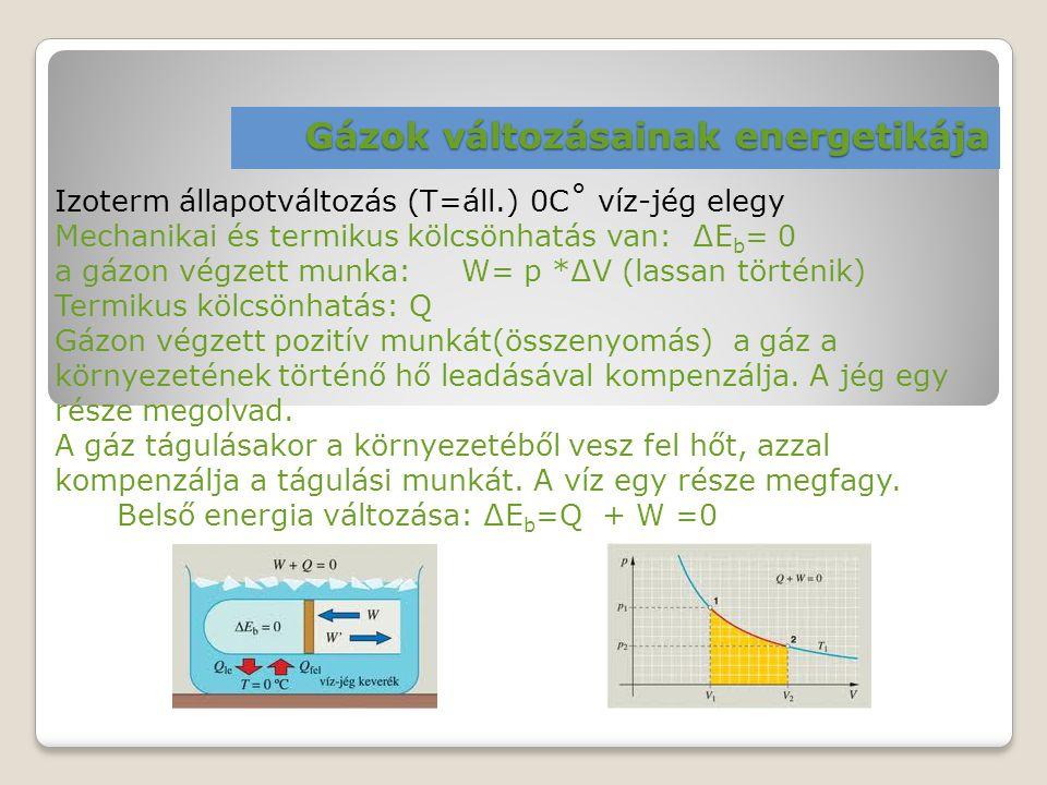 Gázok változásainak energetikája Izoterm állapotváltozás (T=áll.) 0C˚ víz-jég elegy Mechanikai és termikus kölcsönhatás van: ∆E b = 0 a gázon végzett