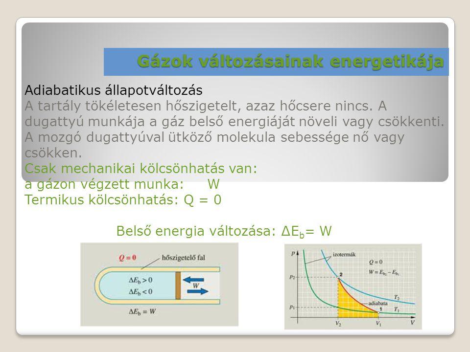 Gázok változásainak energetikája Adiabatikus állapotváltozás A tartály tökéletesen hőszigetelt, azaz hőcsere nincs. A dugattyú munkája a gáz belső ene