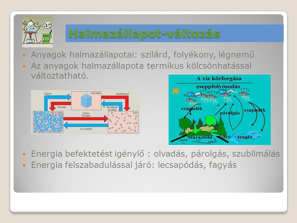 Anyagok halmazállapotai: szilárd, folyékony, légnemű Az anyagok halmazállapota termikus kölcsönhatással változtatható. Energia befektetést igénylő : o