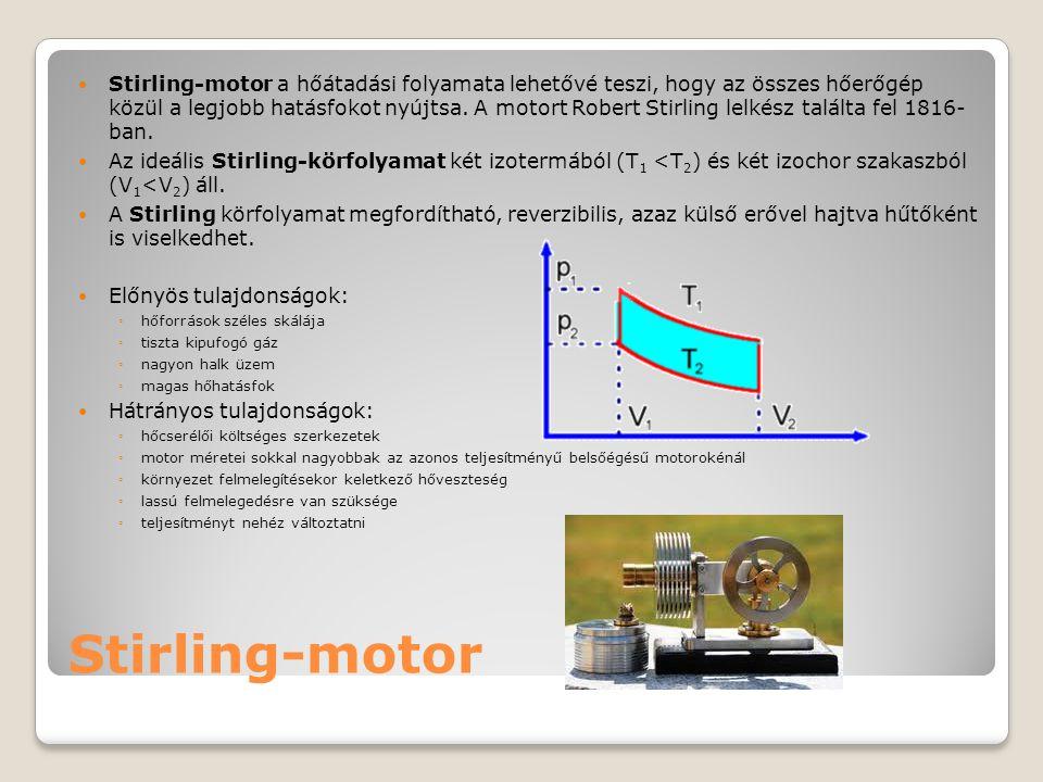 Stirling-motor Stirling-motor a hőátadási folyamata lehetővé teszi, hogy az összes hőerőgép közül a legjobb hatásfokot nyújtsa. A motort Robert Stirli
