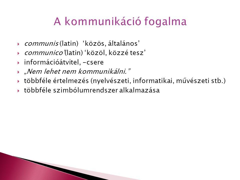 """ communis (latin) 'közös, általános'  communico'(latin) 'közöl, közzé tesz'  információátvitel, -csere  """"Nem lehet nem kommunikálni.""""  többféle é"""