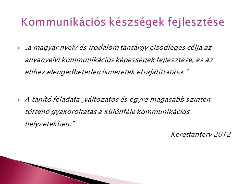 """ """"a magyar nyelv és irodalom tantárgy elsődleges célja az anyanyelvi kommunikációs képességek fejlesztése, és az ehhez elengedhetetlen ismeretek elsa"""